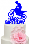 Motorbike Stunt Rider with Happy Birthday Cake Acrylic Topper